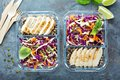 Healthy meal prep containers with quinoa and chicken Royalty Free Stock Photo
