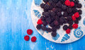 Healthy mixed fruit, Blueberry. Fresh berries Royalty Free Stock Photo