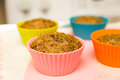 Healthy Muffins in Colorful Cups Royalty Free Stock Photo