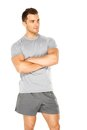 Healthy muscular young man isolated on white Royalty Free Stock Photo