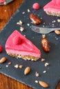 Healthy No Bake Icebox Cake with Raspberries Royalty Free Stock Photo