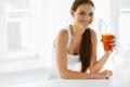 Healthy Nutrition. Vegetarian Woman Drinking Detox Juice. Food, Royalty Free Stock Photo