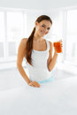 Healthy Nutrition. Vegetarian Woman Drinking Detox Juice. Food, Royalty Free Stock Photo