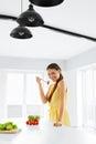 Healthy Nutrition. Vegetarian Woman Eating Organic Food, Lifesty Royalty Free Stock Photo