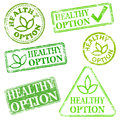 Healthy option stamps grungy rubber stamp illustrations Stock Photos