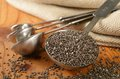 Healthy organic chia seeds in a measuring spoon on a rustic wooden table shallow depth of field Royalty Free Stock Images