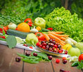 Healthy organic food - fresh fruits and vegetables Royalty Free Stock Photo