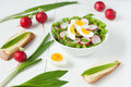 Healthy organic nutrition spring salad with Royalty Free Stock Photo
