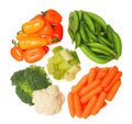 Healthy organic vegetables isolated on white background peppers peas cauliflower carrots celery and broccoli Royalty Free Stock Photo