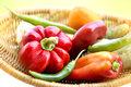 Healthy Organic Vegetables in a Wood Basket Royalty Free Stock Photo