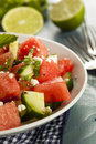 Healthy organic watermelon salad with mint feta and cucumber Royalty Free Stock Photo