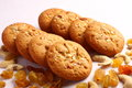 Healthy  peanut butter cookies with nuts and raisins Royalty Free Stock Photo