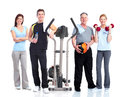 Healthy people group gym and fitness isolated over white background Stock Images