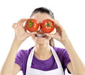 Healthy people tomato woman lifestyle funny image of showing tomatoes Stock Photo