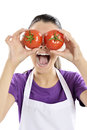 Healthy people tomato woman lifestyle funny image of showing tomatoes Royalty Free Stock Photo