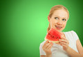 Healthy pretty girl with a slice of watermelon Stock Photography