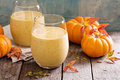 Healthy pumpkin smoothie with chia seed in glasses Royalty Free Stock Photo