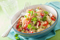 Healthy quinoa salad with tomato cucumber onion chives Royalty Free Stock Photo