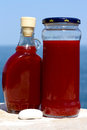 Healthy red oil undiluted st johns wort not for internal use extreme caution by sunbathing Royalty Free Stock Photos