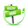 Healthy road street sign illustration design over white Stock Photo