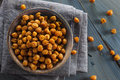 Healthy roasted seasoned chick peas with different spices Stock Image
