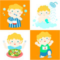 Daily healthy routine for boy cartoon