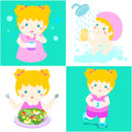 Daily healthy routine for girl cartoon