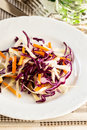 Healthy salad with red cabbage and carrot green on white plate from above Royalty Free Stock Images