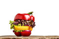 Healthy sandwich with fresh pepper, onion, salad lettuce. Detox diet. Royalty Free Stock Photo
