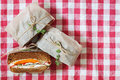 Healthy sandwich made of a fresh rye roll with tasty ingredients Royalty Free Stock Photo