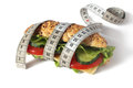 Healthy sandwich with vegetable and cheese and measuring tape Stock Photo
