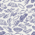 Healthy seafood ball pen seamless pattern