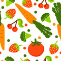 Healthy seamless pattern with vegetables in style cartoon.
