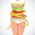 Healthy and slimming food illustration of fruit forming slim lady with measuring tape Royalty Free Stock Image
