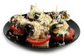 Healthy snack with eggplant tomato and cheese Stock Images