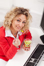 Healthy snack office woman eating fresh vegetables mix Stock Image