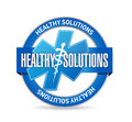 Healthy solutions medical seal illustration design over white background Stock Photography