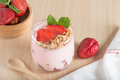 Healthy Strawberry yogurt with fresh strawberries and muesli. Royalty Free Stock Photo