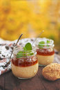 Healthy tapioca pearls pudding dessert with coconut milk and cherry jam. Royalty Free Stock Photo