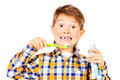 Healthy teeth little funny boy smiling and brushing his healthcare isolated over white Royalty Free Stock Photography