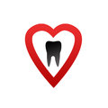 Healthy teeth logo with red heart Stock Images