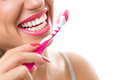 Healthy teeth with tooth-brush Royalty Free Stock Photo