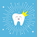 Healthy tooth crown icon Smiling face. King queen prince princess Cute cartoon character. Round line circle. Oral dental hygiene. Royalty Free Stock Photo