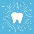 Healthy tooth icon. Round line circle. Oral dental hygiene. Children teeth care.
