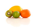 Healthy tropical fresh fruits on white background Royalty Free Stock Photo