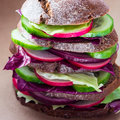 Healthy vegan sandwich with fresh vegetables