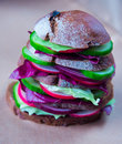 Healthy vegan sandwich with fresh vegetables Royalty Free Stock Photo