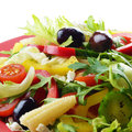 Healthy vegetable fresh organic salad over white Stock Photos