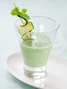 Healthy vegetable smoothie with cucumber selective focus Stock Photo