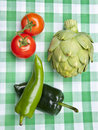 Healthy Vegetables on a Picnic Blanket Stock Photos
